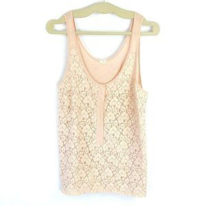 J.Crew Size L Peach Lace Overlay Sleeveless Top